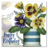 Caroline Cleave Pansies in a Mug birthday card