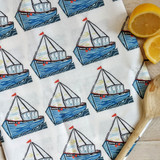 Sailing Boats Tea Towel from Lucky Lobster Art