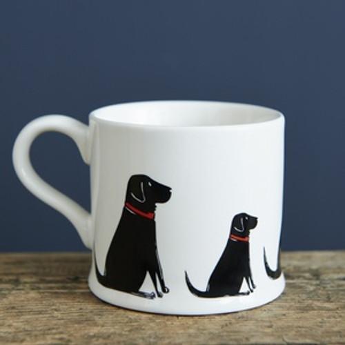 Black Labrador pottery mug from Sweet William Designs.