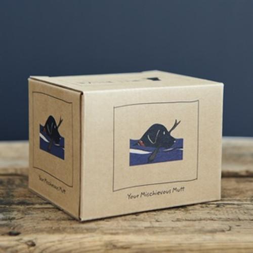 Black lab swimming mug box from Sweet William Designs.