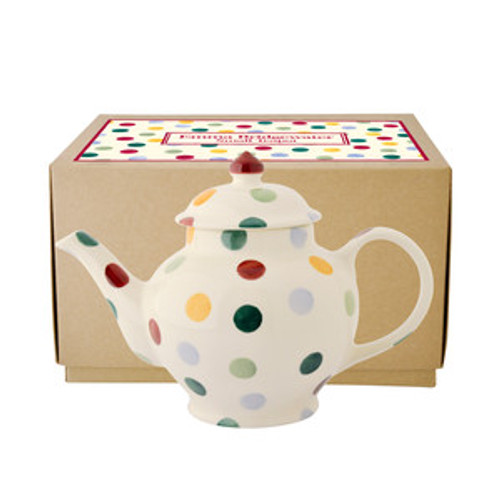 Small Emma Bridgewater pottery Polka Dot teapot. Made in England.