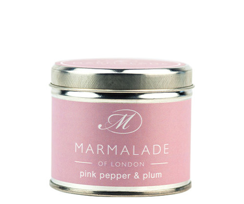 Pink Pepper & Plum medium tin candle from Marmalade of London.