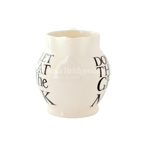 Emma Bridgewater handmade pottery Black Toast 1/2 Pint Jug.