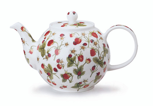 Dunoon Dovedale Strawberry fine bone china teapot.