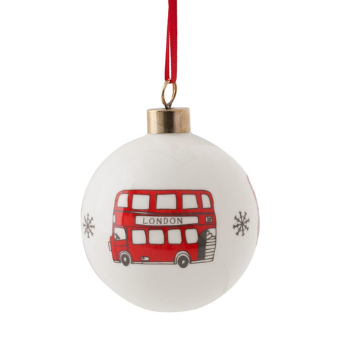 Bone china London Christmas bus bauble from Victoria Eggs.