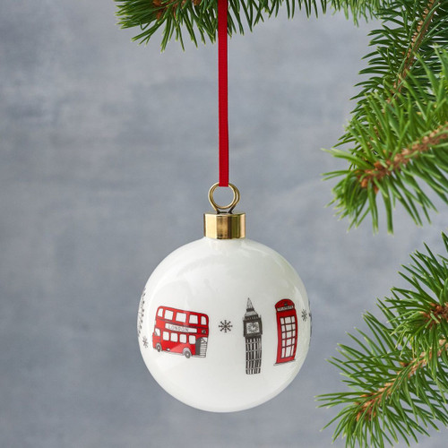 Bone china London Skyline Christmas bauble from Victoria Eggs.