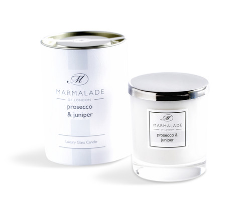 Prosecco & Juniper glass candle from Marmalade of London.