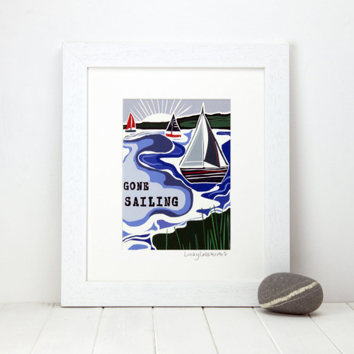 """Mounted """"Gone Sailing"""" print taken from the original lino print artwork from Lucky Lobster Art in England."""