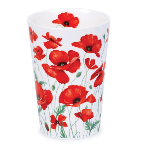 Bone china travel mug from Dunoon - Poppies without lid and sleeve.