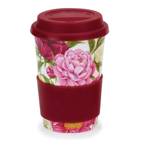 Bone china travel mug from Dunoon - Peonies.