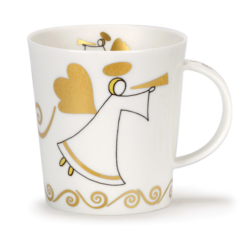 Dunoon Lomond White Christmas Angel bone china mug.