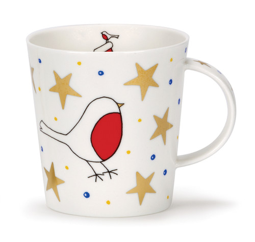 Dunoon Lomond White Christmas Robin bone china mug.