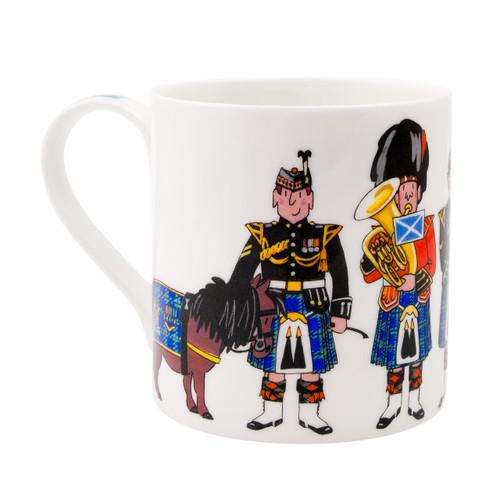 Alison Gardiner Bone China Scottish Pipers mug boxed.