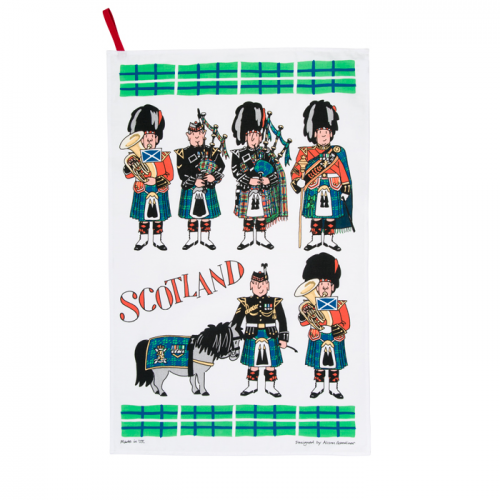 Scottish Pipers cotton tea towel from Alison Gardner.