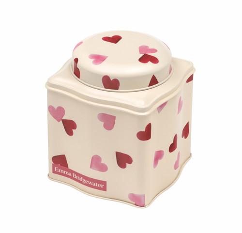 Pink Hearts domed lid wavy tea caddy
