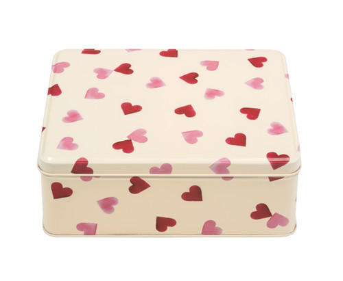 Pink Hearts rectangular tin