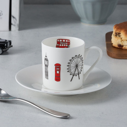 London Skyline Espresso Set of 2 cups and saucers from Victoria Eggs