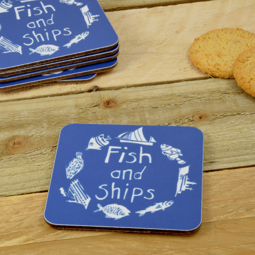 Port & Lemon Fish and Ships Coaster