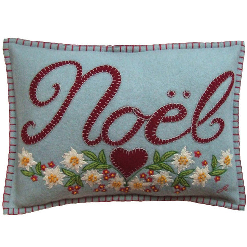 Jan Constantine Noel hand-embroidered felt cushion.