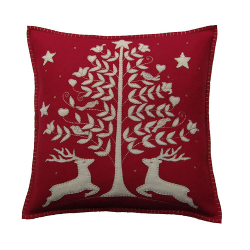 Jan Constantine Deers and trees hand-embroidered felt Christmas cushion.