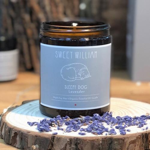 100% organic vegan Sleepy Dog candle from Sweet William Designs.