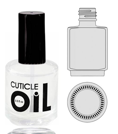 Empty Glass Bottle - 'Cuticle Oil' With Cap 0.5oz 360/Box