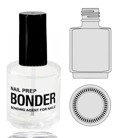 Empty Glass Bottle - 'NAIL PREP BONDER' With Cap 0.5oz.  90/Tray