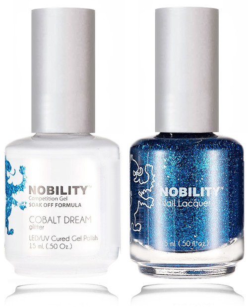LECHAT NOBILITY Gel Polish & Nail Lacquer Set - Cobalt blue glitter.