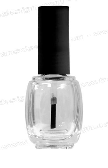 Empty Glass Bottle - Clear Square w/Matte Black Cap 0.5oz 360/Box