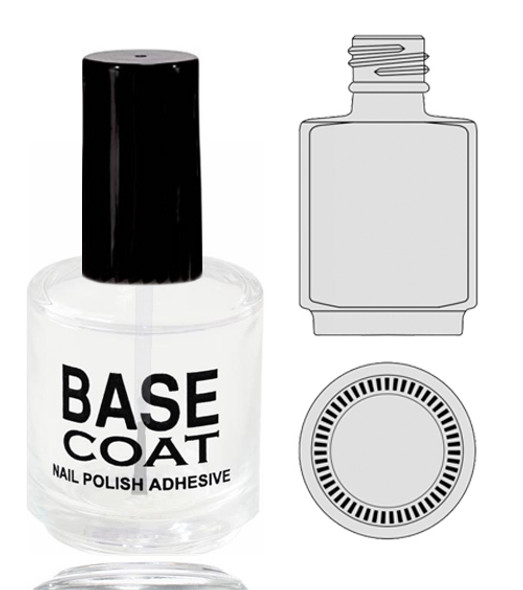 Empty Glass Bottle - 'BASE COAT' With Cap 0.5oz 90/Tray