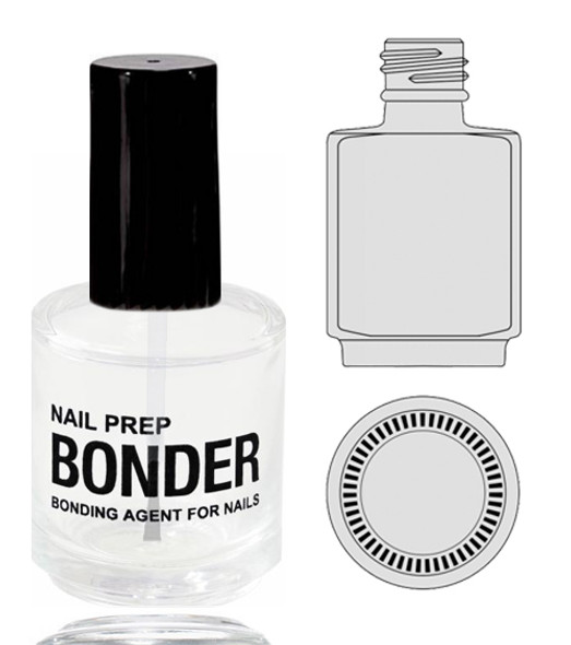 Empty Glass Bottle - 'NAIL PREP BONDER' With Cap 0.5oz