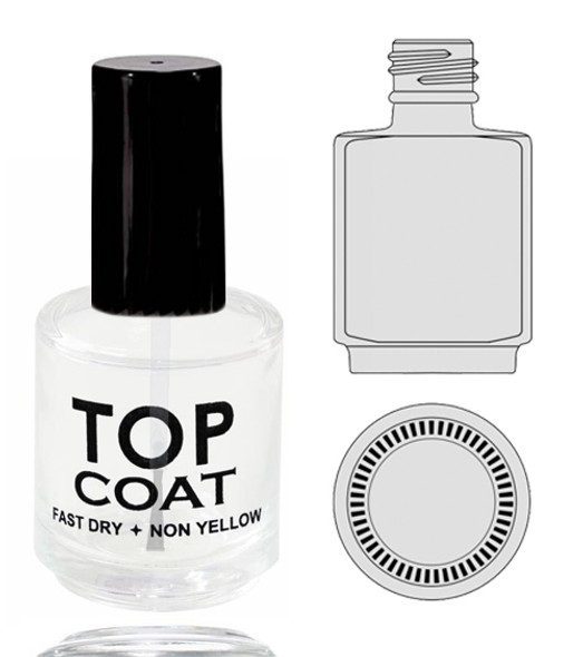 Empty Glass Bottle - 'TOP COAT' With Cap 0.5oz 90/Tray