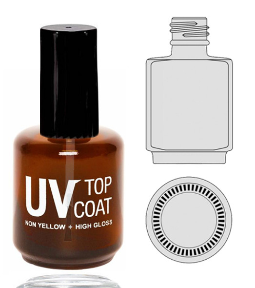 Empty Glass Bottle - 'UV TOP COAT' With Cap 0.5oz 115/Tray