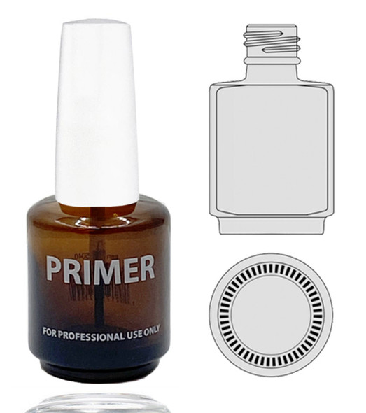 Empty Glass Bottle - 'PRIMER' With Cap 0.5oz 115/Tray