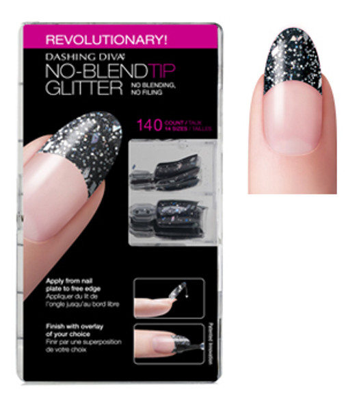 Dashing Diva - No Blend Tip Glitter-Black 96/Box *