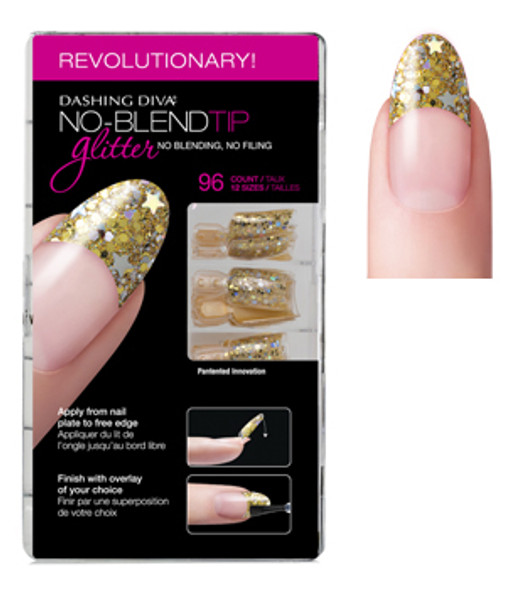 Dashing Diva - No Blend Tip Glitter-Gold 96/Box *