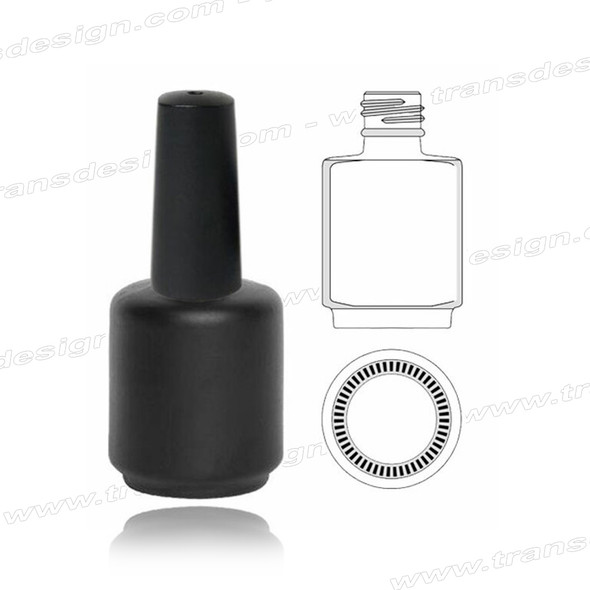 GLASS BOTTLE Black Painted with Cap & Brush 0.5oz.