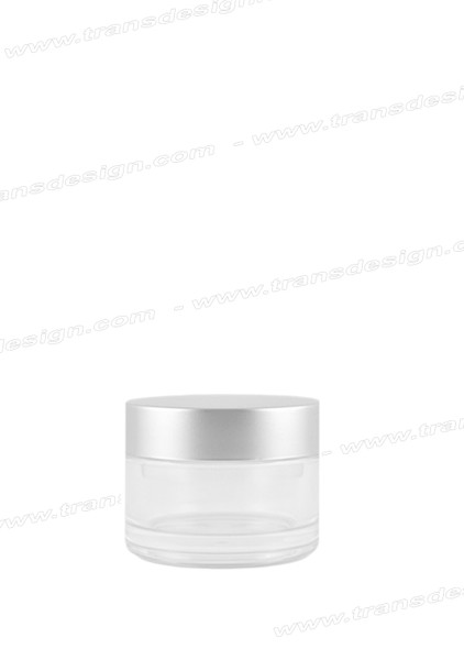 JAR-Clear Glass Silver Liner Cap 0.5oz. (15ml)