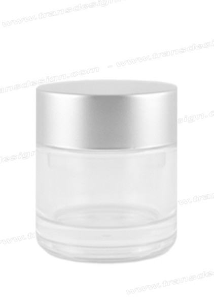 JAR-Clear Glass Silver Liner Cap 3.3oz. (98ml)