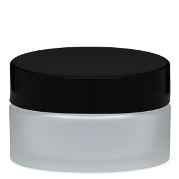 JAR-Empty Frosted Glass/Black Cap 2.66oz. (78ml)