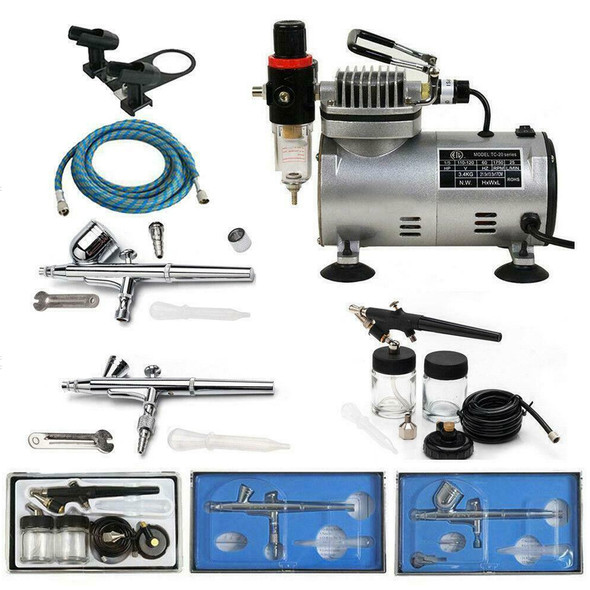 AIRBRUSH Compressor Kit with 3 Airbrush Guns