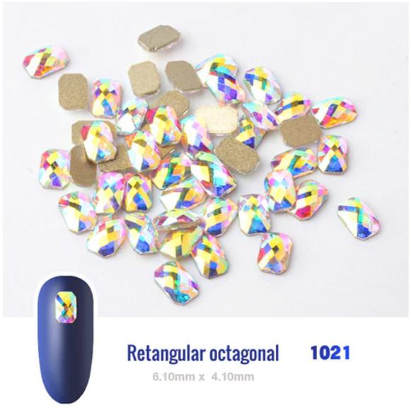 RHINESTONE-Super AB Crystal Retangular octagonal  6.10x4.10mm 10pcs/Bag