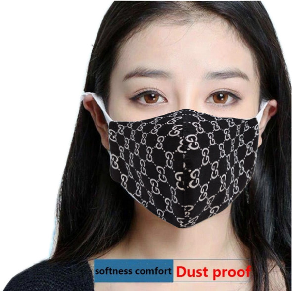 "Reusable Face Mask Black ""GG"" Pattern"