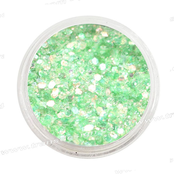 DESIGN - Light Green Hologram, Mini Hexagon 0.25oz. Jar