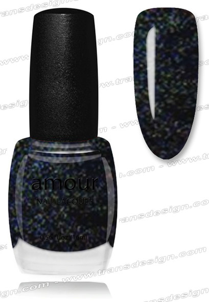 AMOUR Nail Lacquer - Black Glitter 0.56oz