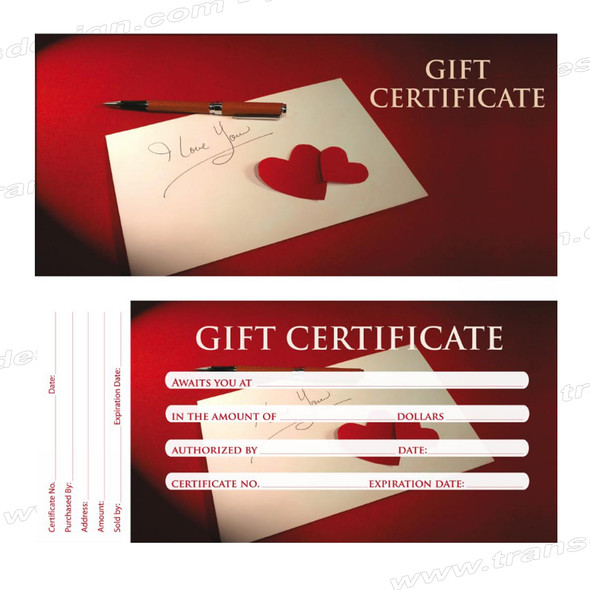 "GIFT CERTIFICATE ""Red Heart"" 50/Book"