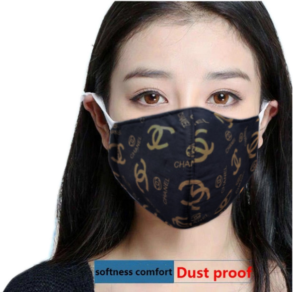 "Reusable Face Mask Black/Yellow ""CC"" Pattern"
