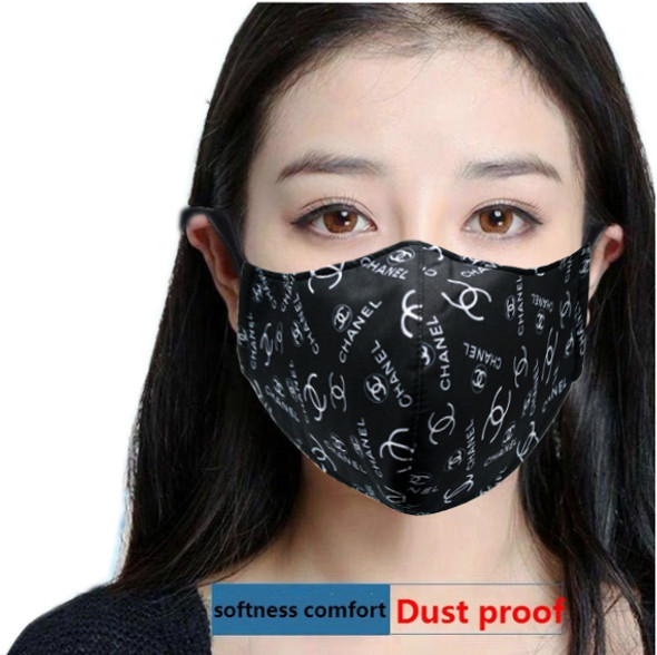 "Reusable Face Mask Black/White ""CC"" Pattern"