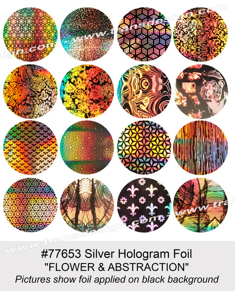 "NAIL FOIL Silver Hologram ""FLOWER & ABSTRACTION"" 16 Paterns /Pack"