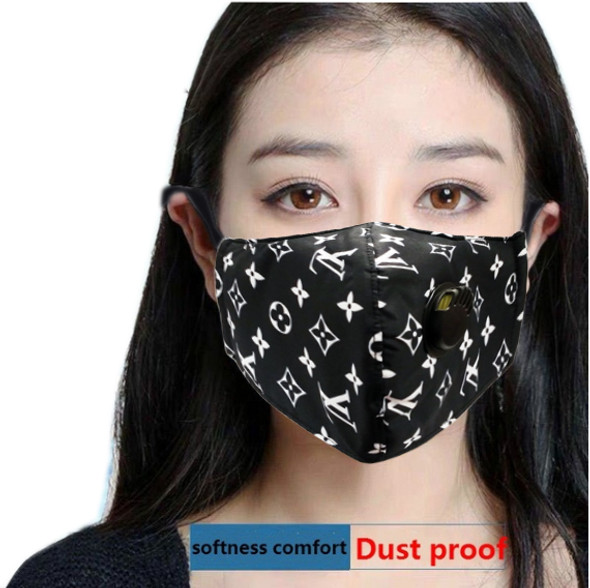 Reusable Face Mask Black Pattern with Valve Breathing Filter